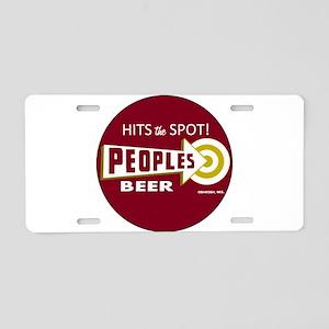 Peoples Beer Logo, red, rou Aluminum License Plate