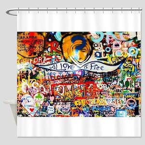 All Love Is Free Graffiti Shower Curtain