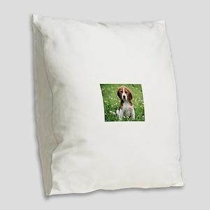 Beagle Burlap Throw Pillow