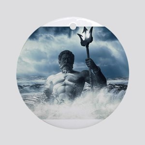 Neptune Rising from the Waves Round Ornament