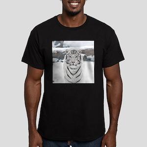 White Tiger Men's Fitted T-Shirt (dark)