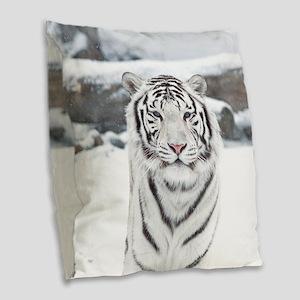 White Tiger Burlap Throw Pillow