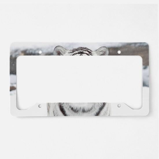White Tiger License Plate Holder