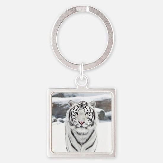 White Tiger Square Keychain