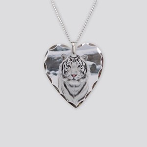 White Tiger Necklace Heart Charm