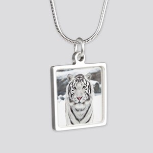 White Tiger Silver Square Necklace
