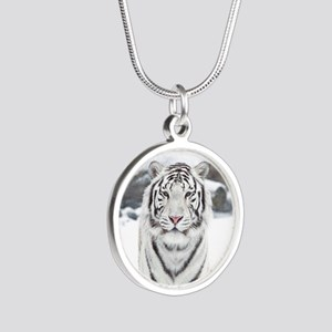 White Tiger Silver Round Necklace