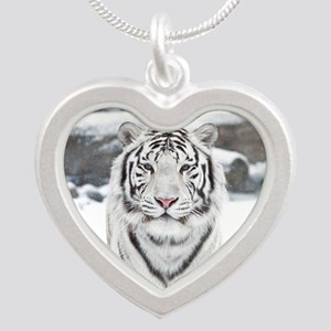 White Tiger Silver Heart Necklace