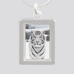 White Tiger Silver Portrait Necklace