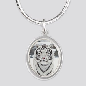 White Tiger Silver Oval Necklace