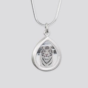 White Tiger Silver Teardrop Necklace