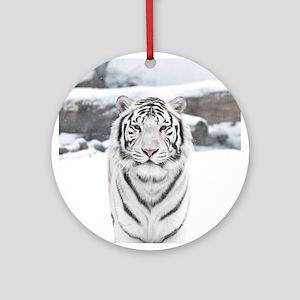 White Tiger Round Ornament
