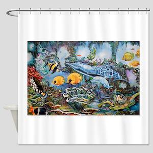 Graffiti Aquatic Playground Shower Curtain