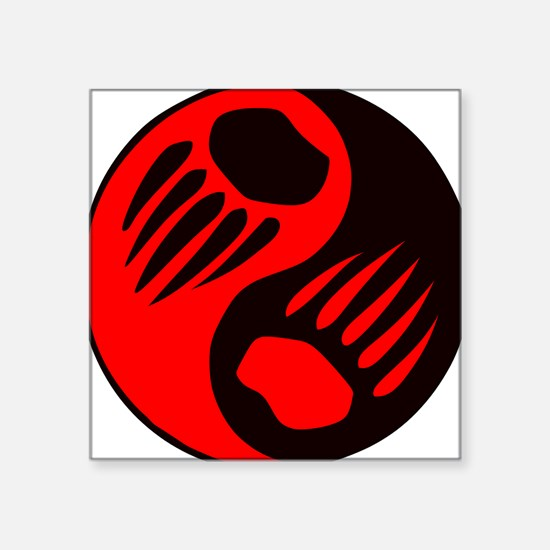 Bear Claw Yin Yang Rectangle Sticker