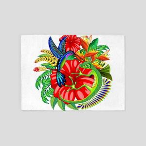 The Lizard, The Hummingbird and The Hibiscus 5'x7'