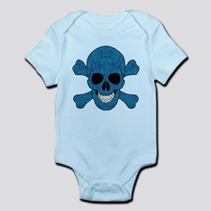 Faux Blue Glitter Skull And Crossbones Body Suit