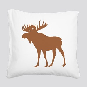 Moose: Rustic Brown Square Canvas Pillow