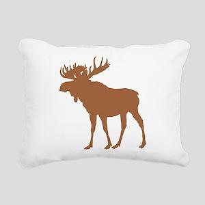Moose: Rustic Brown Rectangular Canvas Pillow