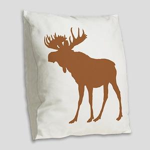 Moose: Rustic Brown Burlap Throw Pillow