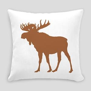 Moose: Rustic Brown Everyday Pillow