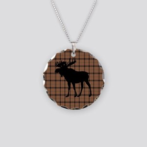 Moose: Brown Plaid Necklace Circle Charm