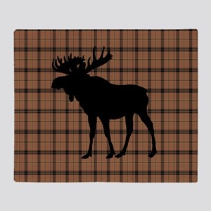 Moose: Brown Plaid Throw Blanket