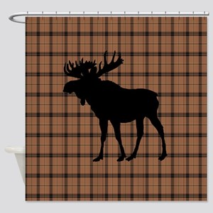 Moose: Brown Plaid Shower Curtain