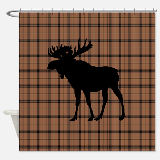 Moose: Brown Plaid Shower Curtain