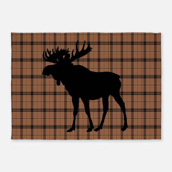 Moose: Brown Plaid 5'x7'Area Rug
