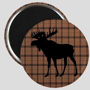 Moose: Brown Plaid Magnet