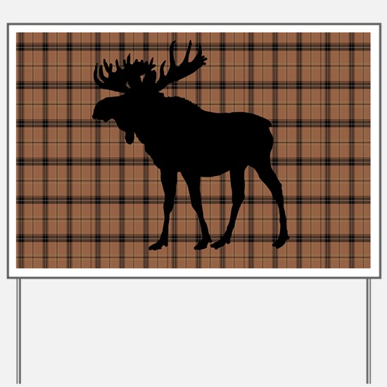 Moose: Brown Plaid Yard Sign