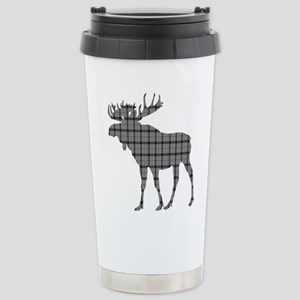 Moose: Grey Plaid Stainless Steel Travel Mug