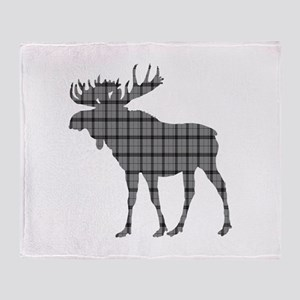 Moose: Grey Plaid Throw Blanket