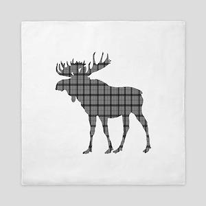 Moose: Grey Plaid Queen Duvet