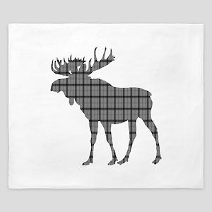 Moose: Grey Plaid King Duvet