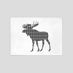 Moose: Grey Plaid 5'x7'Area Rug