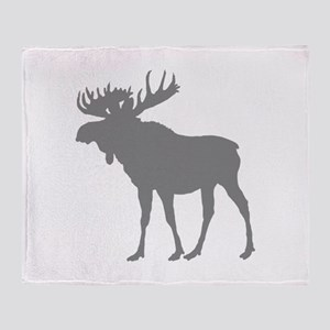 Moose: Grey Throw Blanket