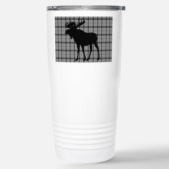 Moose: Grey Plaid Stainless Steel Travel Mug