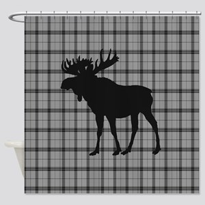 Moose: Grey Plaid Shower Curtain