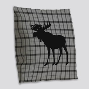 Moose: Grey Plaid Burlap Throw Pillow