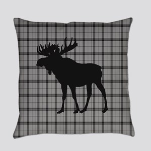 Moose: Grey Plaid Everyday Pillow
