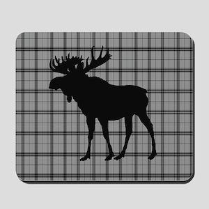 Moose: Grey Plaid Mousepad