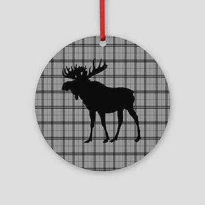 Moose: Grey Plaid Round Ornament