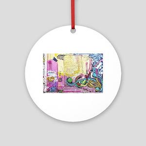 Neon Yellow & Pink Graffiti Round Ornament
