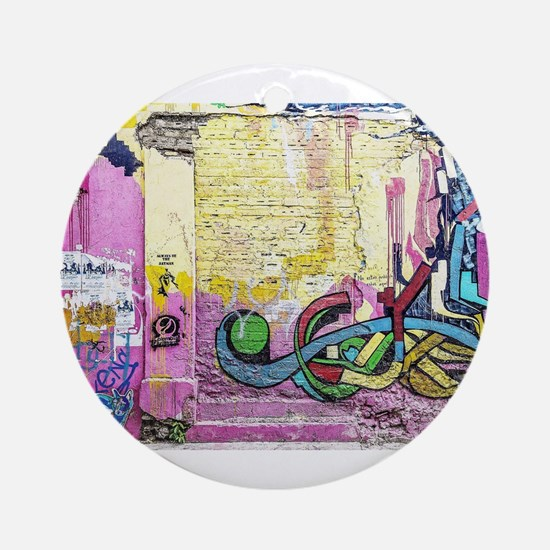 Neon Yellow & Pink Graffiti Round Ornament