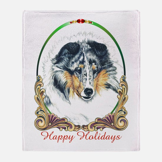 Shetland Sheepdog Blue Merle Happy H Throw Blanket