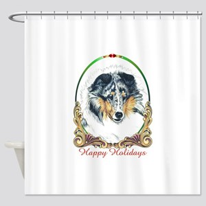 Shetland Sheepdog Blue Merle Happy Shower Curtain