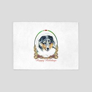 Shetland Sheepdog Blue Merle Happy 5'x7'Area Rug