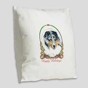 Shetland Sheepdog Blue Merle H Burlap Throw Pillow