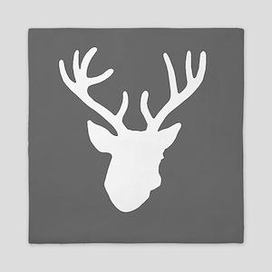 Deer Head: Rustic Grey Queen Duvet